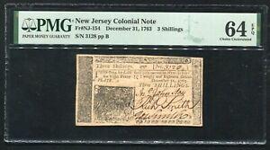 NJ-154 DECEMBER 31, 1763 3s THREE SHILLINGS NEW JERSEY COLONIAL PMG UNC-64EPQ