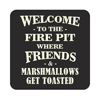 Welcome to The Fire Pit Patio Metal Sign Outdoor Beach Pool Party Decor Plaque