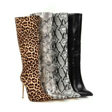 Womens Knee-high Boots Fashion Snake Print Stiletto High Heel Pointed Toe Shoes
