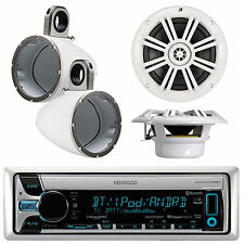 """Kenwood Marine AUX CD Player With 2x 6.5"""" Boat Speaker W/ White Tower Enclosures"""