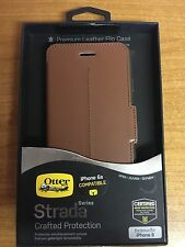 GENUINE OTTERBOX STRADA IPHONE 6S & 6 LEATHER WALLET FOLIO FLIP CASE COVER BROWN