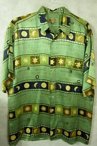 NEW Lord & Taylor Green Gold Zodiac Sun Moon Lunar 100% Silk Hawaiian Shirt L