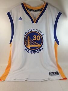 ADIDAS Warriors Stephen Curry White Player Swing Home tank top MEN  SIZE L ***
