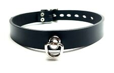 Black Leather SWIVEL D Ring Leather COLLAR choker slave spike stud RATS BUM