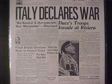 VINTAGE NEWSPAPER HEADLINE ~MUSSOLINI NAZI ARMY INVASION ITALY DECLARES WAR WWII