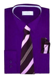 Boys Long Sleeve Dress Shirt Matching Tie & Hanky Toddler Kids Button Up Set