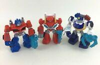"""Transformers Rescue Bots 3pc Lot 3"""" PVC Figures Optimus Prime Heatwave Playskool"""