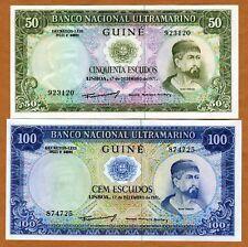 Set, Portuguese Guinea, 50;100 Escudos 1971 P-44;45 Unc > Colonial