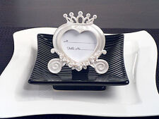 75 Pearl White Heart Cinderella Coach Place Card Frame Wedding Sweet 16 Favor