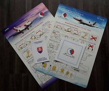 Set of 2 Slovak Government Flying Service Safety Cards+baggage tag+table napkin