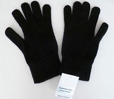 Black lambswool gloves mens ladies womens wool woollen winter Made in Scotland