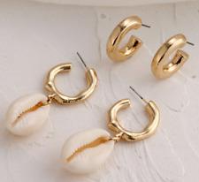 9be0ec370bf9 Playa boho Nuevo Sea Shell Concha Aro cuelgan pendientes Conjunto de 2  pares de vendedor del Reino Unido