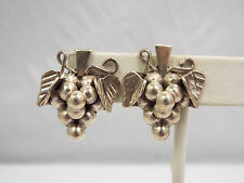 Grape Cluster Clip On Earrings Vintage Taxco Mexico Sterling Silver