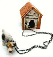 Vintage Dog on chain with Dog House figurine Japan