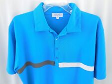 Calvin Klein Mens Polo Golf SHIRT Blue Polyester SS Sz L Large