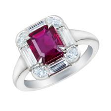 3.5Ct Emerald Cut Pink Ruby Diamond Halo Engagement Ring 18K White Gold Finish