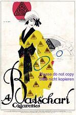 Batschari Zigaretten Reklame 1914 H.R. Erdt Schöne Dame Morgenrock Raucherin
