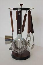 Vintage 5 Piece Bar Tool Set Wood Metal Stand Opener Jigger Strainer Tongs Spoon