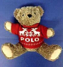"Polo Ralph Lauren Vintage Teddy Bear Plush Red Sweater Deer Snowflake '98 15"" Lo"