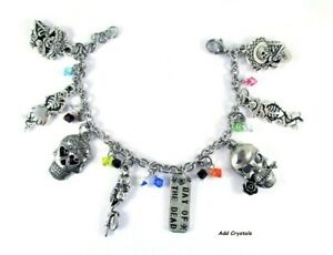 Sugar Skulls Day of the Dead Charm Bracelet Women's Personalized Word Jewelry