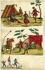 Antique Print-SCRAPBOOK PAGE-TENT-MUSIC-DANCE-HERAULT-Anonymous-Ca. 1740