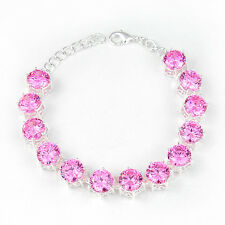 Gorgeous Round Dazzling Natural Pink Kunzite Topaz Gems Silver Charm Bracelets