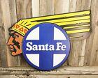 "Santa Fe Chief Railroad Rail Road RXR 19"" Metal Tin Sign Vintage Train Collector"
