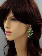 New 18K Gold GP Green Crystal Rhinestone Chandelier Drop Dangle Earrings 04214