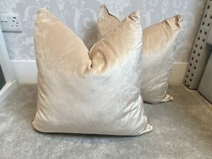 Laura Ashley Velvet Nigella Cream Beige Piped Cushions X2 Feather Pad 50x50
