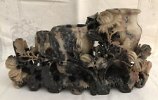 ANTIQUE Hand Carved Dark Soapstone Chinese Relief 3 Vase Floral Mums Sculpture