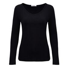 Women Basic V-Neck T Shirt Plain Solid Bottoming Blouse Long Sleeve Stretch Tops