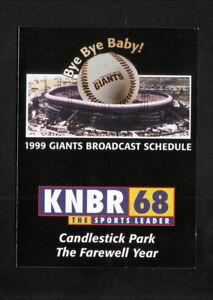 San Francisco Giants--Candlestick Park--1999 Pocket Schedule--KNBR/Don Sherwood