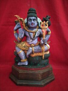 """Vintage Hindu God Shiva 12"""" Handcarved Statue Siva Figurine Sculpture Murti Idol"""