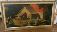 Vintage Paul Detlefsen Framed Print Memories Kids Duck Pond Barn 44 x 24 Sofa