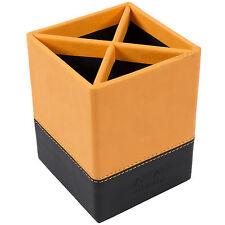 Rhodia Orange & Black Faux Leather Pencil Pot Pen Desk Tidy Holder Organiser