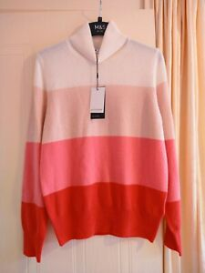 M&S Autograph Pure Cashmere Striped Roll Neck Jumper Sweater Size 12 Flame New