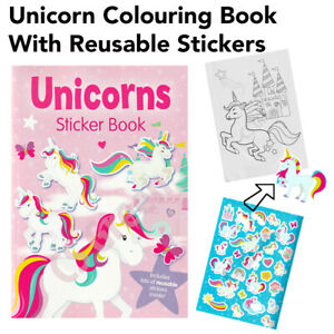 Unicorn Sticker Book Colouring A4 Page Kids Girls Activity Pad Fun Reusable Art