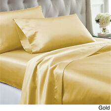 SALE ! 2 NEW SOFT GOLD BRONZE SILK FEEL SATIN HAIR CARE QUEEN PILLOWCASES