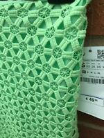 Zara Neon Green Skirt XS Crochet Lined High Waist Pencil Zip BNWT Bright Ladies