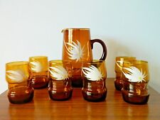 Fantastic Retro 60's/70's Jug and Matching Set of Six Glasses hand painted Amber
