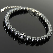 Men's Women Bracelet 6mm Hematite 925 Sterling Silver Cross Bead Clasp Link 1312