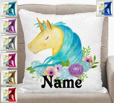Personalised Unicorn Magic Sequin Mermaid Cushion Cover 7 Colour Choices
