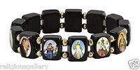 Saints Bead Bracelet, Black Wood Beads Elastic Stretch Catholic Religious Icons