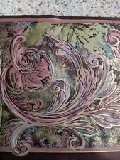 Vtg Victorian Burgundy Gold Green Scroll Paisley Leaf Prepasted Wallpaper Border