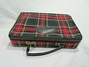 PORTABLE BAR CASE VINTAGE RED PLAID 3 BOTTLE BAR W CUPS WOOD DIVIDERS CARRYALL
