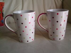 2 X M & S  Polka Dot  Porcelain Mugs,USED.