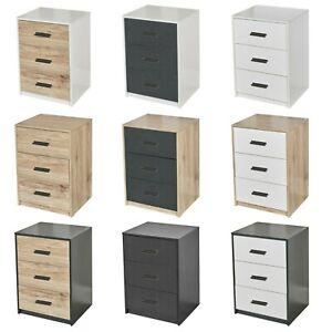 3 Drawer Wooden Bedroom Bedside Cabinet Furniture Storage Nightstand Side Table