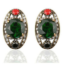 Vintage Style Antique Gold Green Colourful Rhinestones Oval Stud Earrings E1116