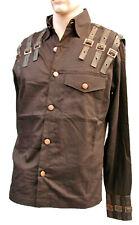 Steampunk Sdl Men's Black Cotton Shirt  &  Brown Leatherette Trim XL bffc102