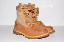 Timberland Women's Open Weave Boot Size 8.5 Wheat Nubuck Leather Ankle Lace Up